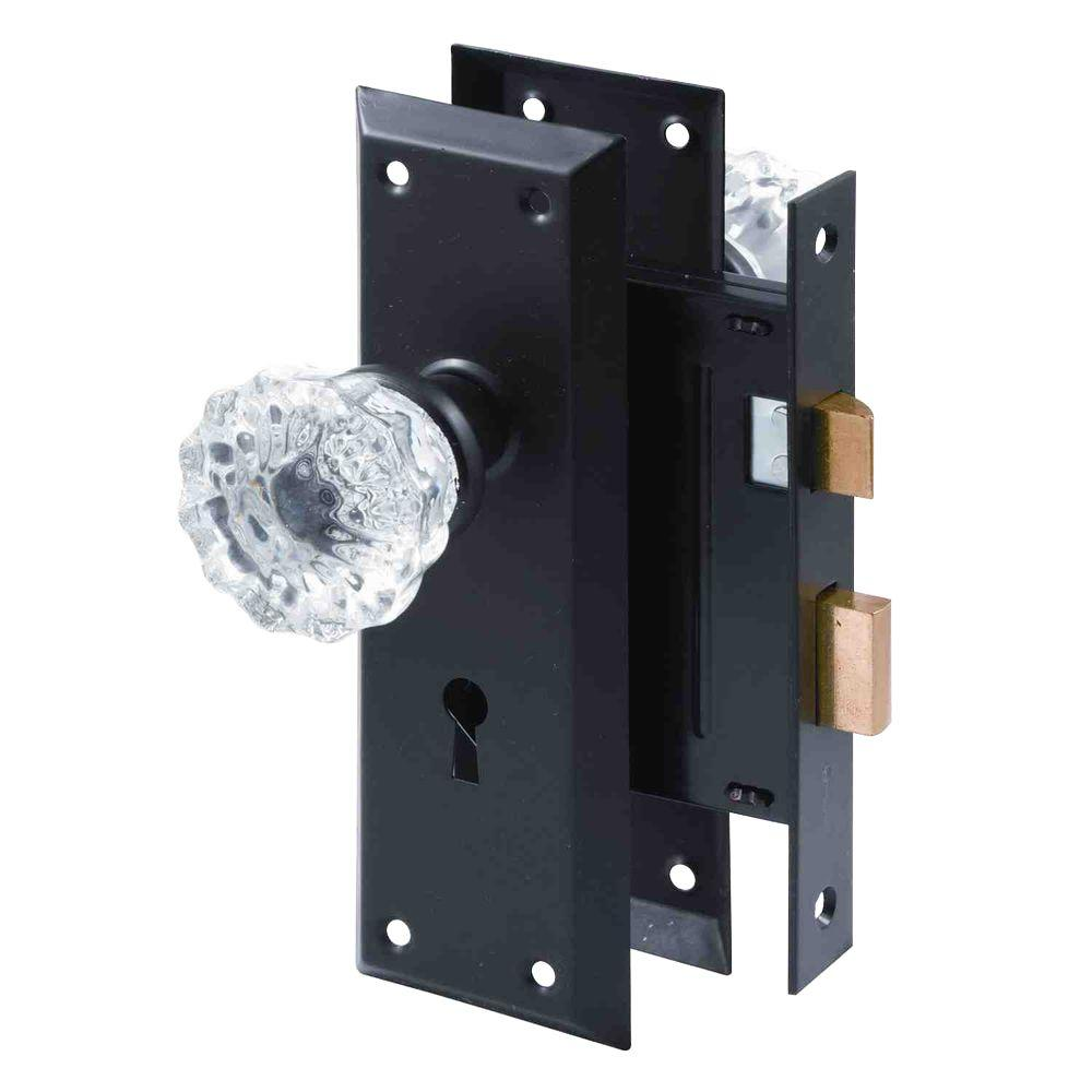 Prime-Line Classic Bronze Mortise Lock Set with Glass Knobs