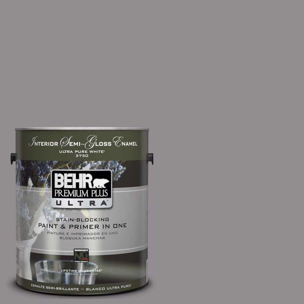 BEHR Premium Plus Ultra 1-gal. #UL250-5 Plum Smoke Interior Semi-Gloss Enamel Paint