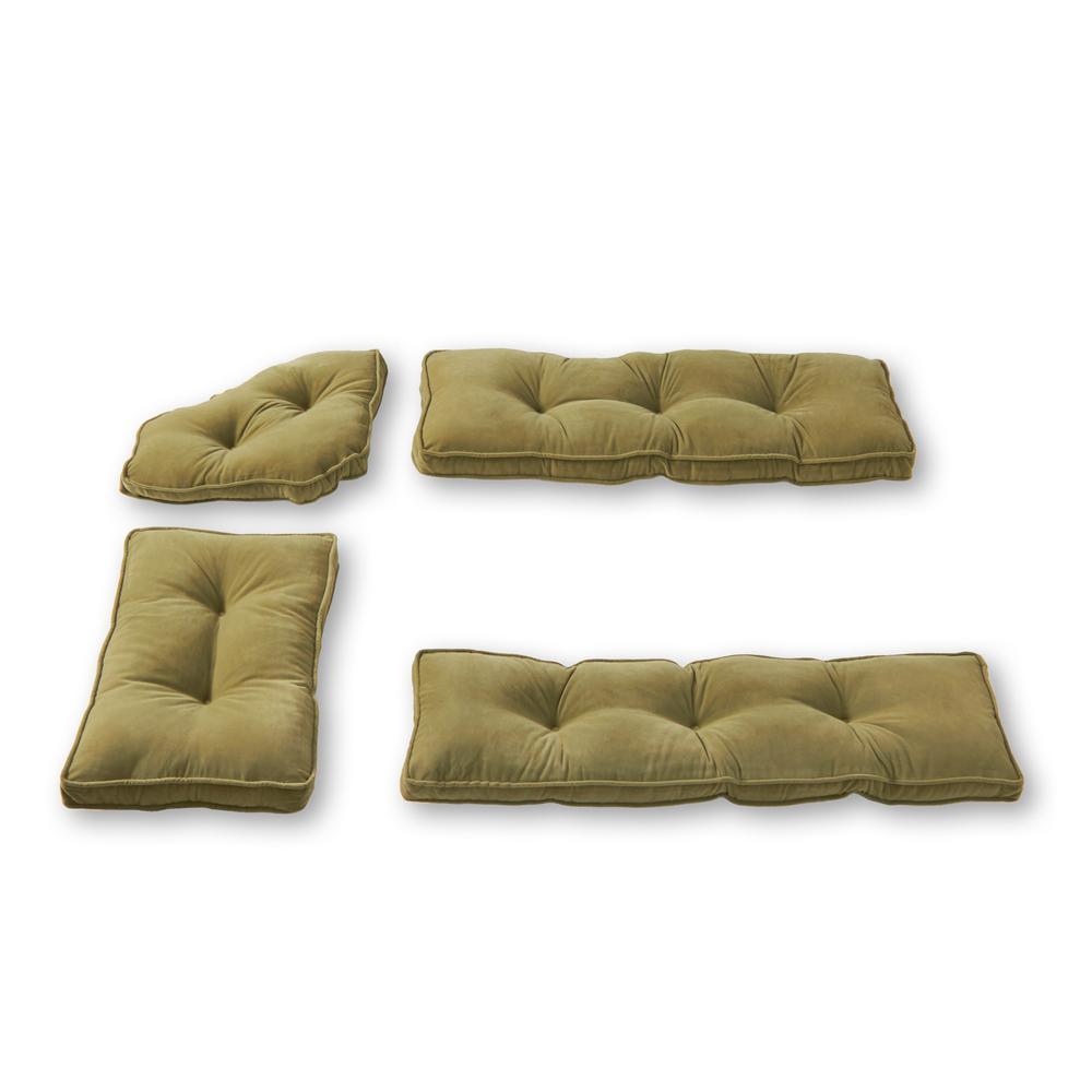 Hyatt Moss 4-Piece Microfiber Kitchen Nook Cushion Set