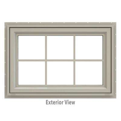 35.5 in. x 23.5 in. V-4500 Series Awning Vinyl Window with Grids - Tan