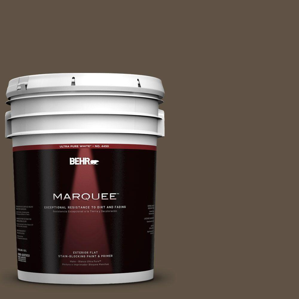 BEHR MARQUEE 5-gal. #710D-7 Chocolate Cupcake Flat Exterior Paint