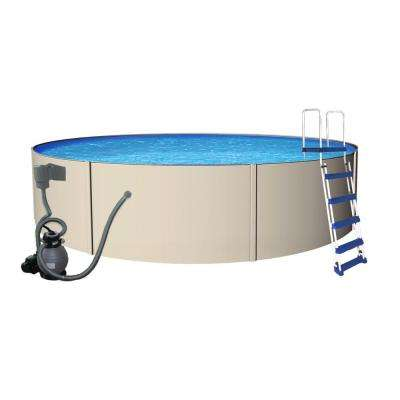 Rugged Steel 15 ft. Round 52 in. Deep Metal Wall Swimming Pool Package