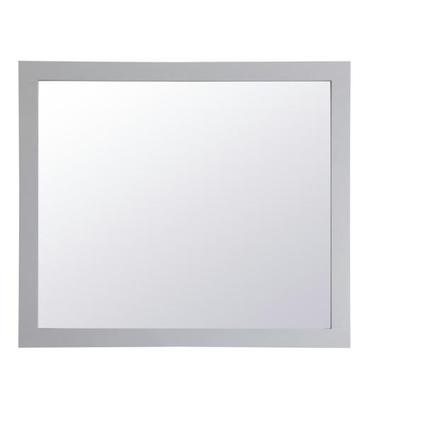 Medium Rectangle Grey Contemporary Mirror (36 in. H x 42 in. W)