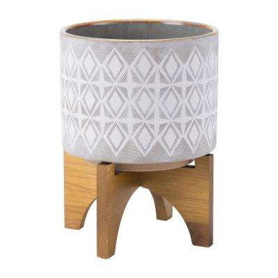 7.9 in. W x 10.4 in. H Gray and White Ceramic Planter