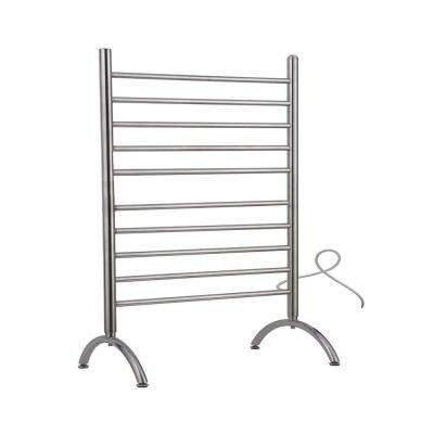 Solo 33 in. Freestanding 33 in. W x 38 in. H 10-Bar Electric Towel Warmer in Brushed Stainless Steel