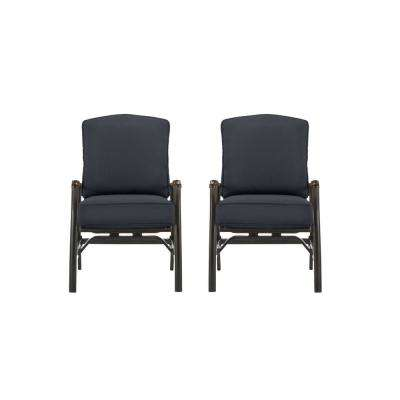Ridge Falls Dark Brown Aluminum Outdoor Patio Motion Lounge Chair with CushionGuard Midnight Navy Blue Cushions (2-Pack)
