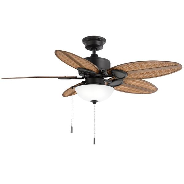 Hampton Bay Lakemoore 48 In Led Indoor Outdoor Matte Black Ceiling Fan With Light Kit 50248 The Home Depot