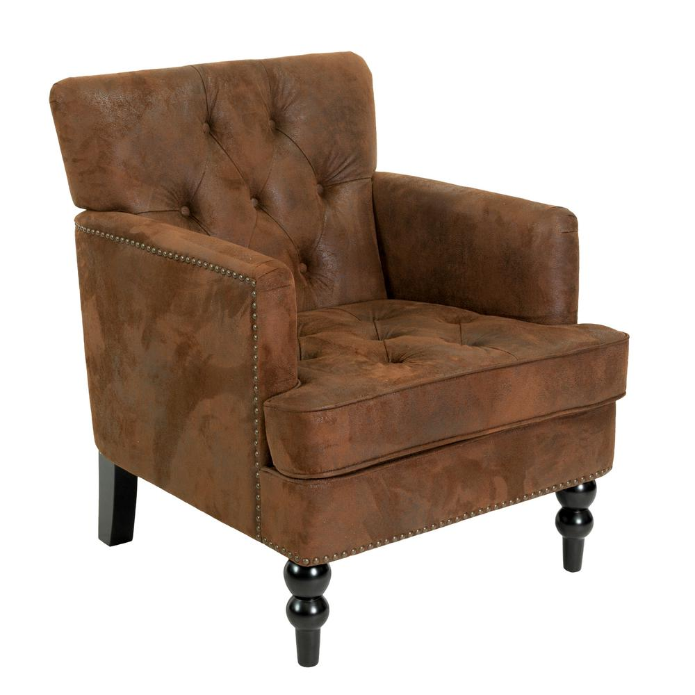 Noble House Malone Tufted Brown Microfiber Club Chair with Stud Accents