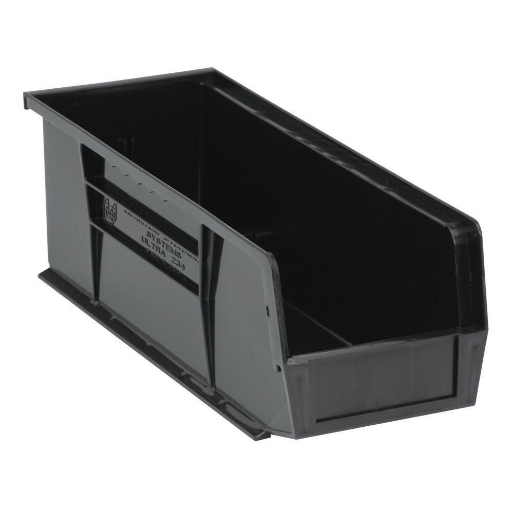 Ultra Series Stack and Hang 6 Gal. Storage Bin in Black (12-Pack)