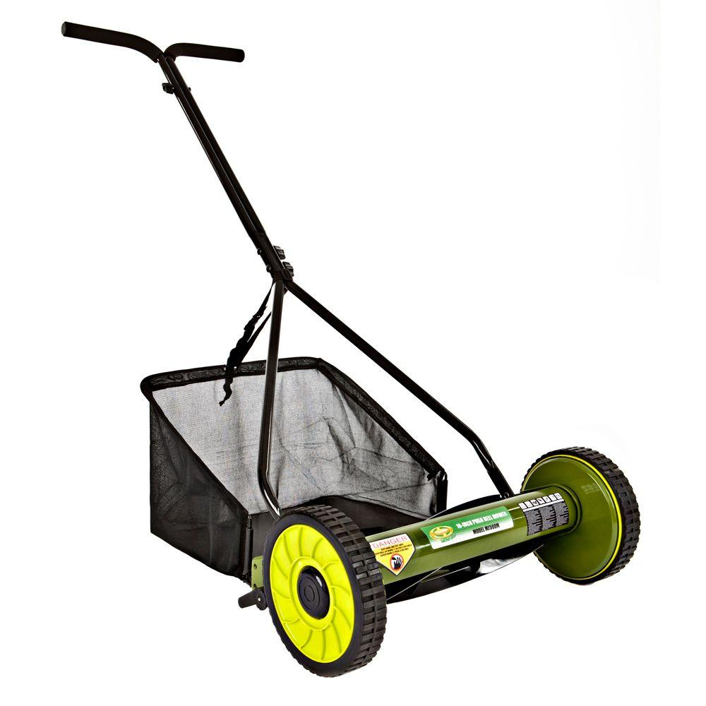 Mow Joe 16 in. Manual Push Walk Behind Reel Mower with