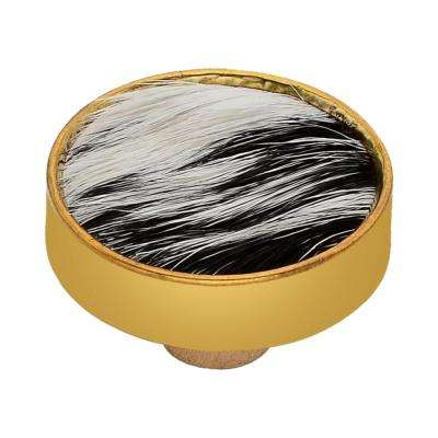 Faux Fur 1-3/5 in. Black and White Cabinet Knob
