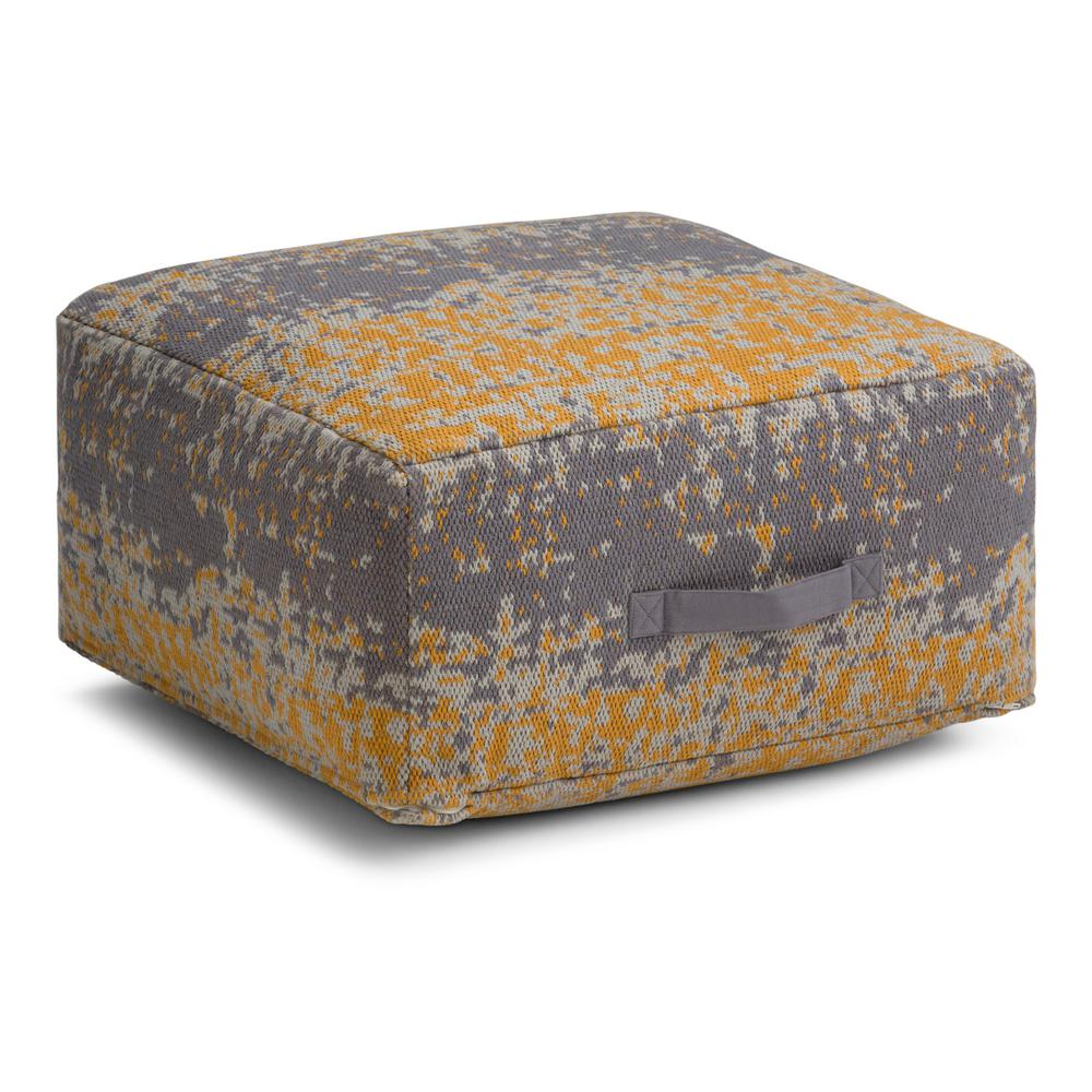 Square Pouf In Yellow Grey Cotton