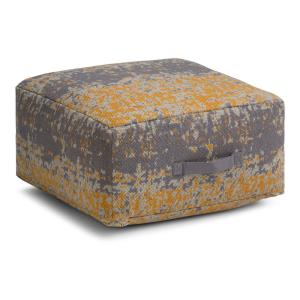 Simpli Home Tilley Yellow And Grey Square Pouf Axcpf 21 Y The Depot