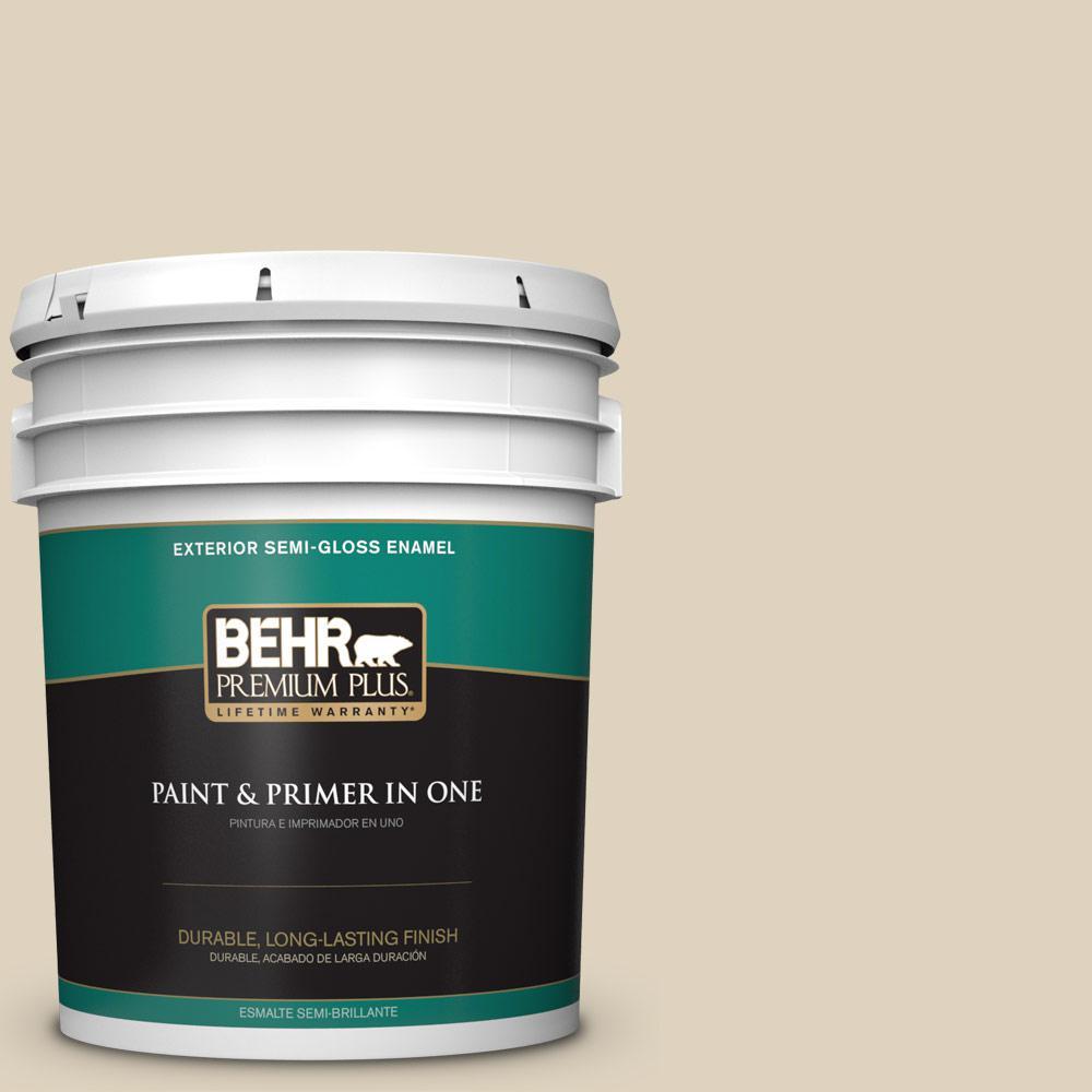 5 gal. #PPU4-12 Natural Almond Semi-Gloss Enamel Exterior Paint