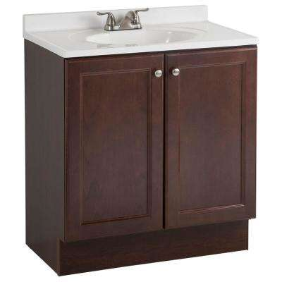 Vanity Pro All-In-One 30 in. W Bathroom Vanity in Chestnut with Cultured Marble Vanity Top in White