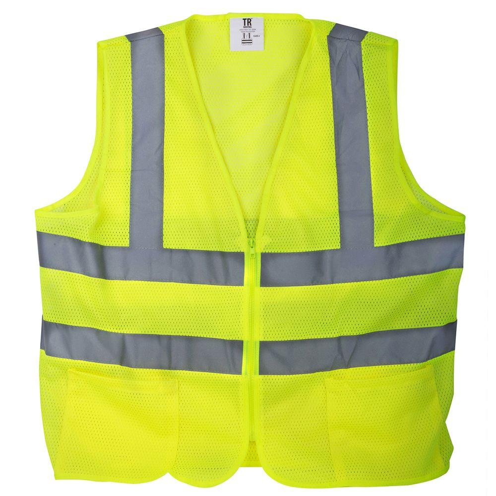 Large Yellow Mesh High Visibility Reflective Class 2 Safety Vest (5-Pack)