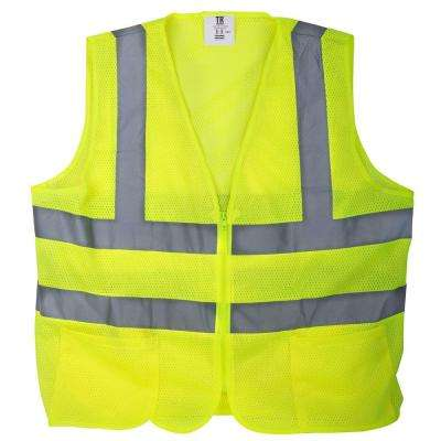 XXXL Yellow Mesh High Visibility Reflective Class 2 Safety Vest (5-Pack)