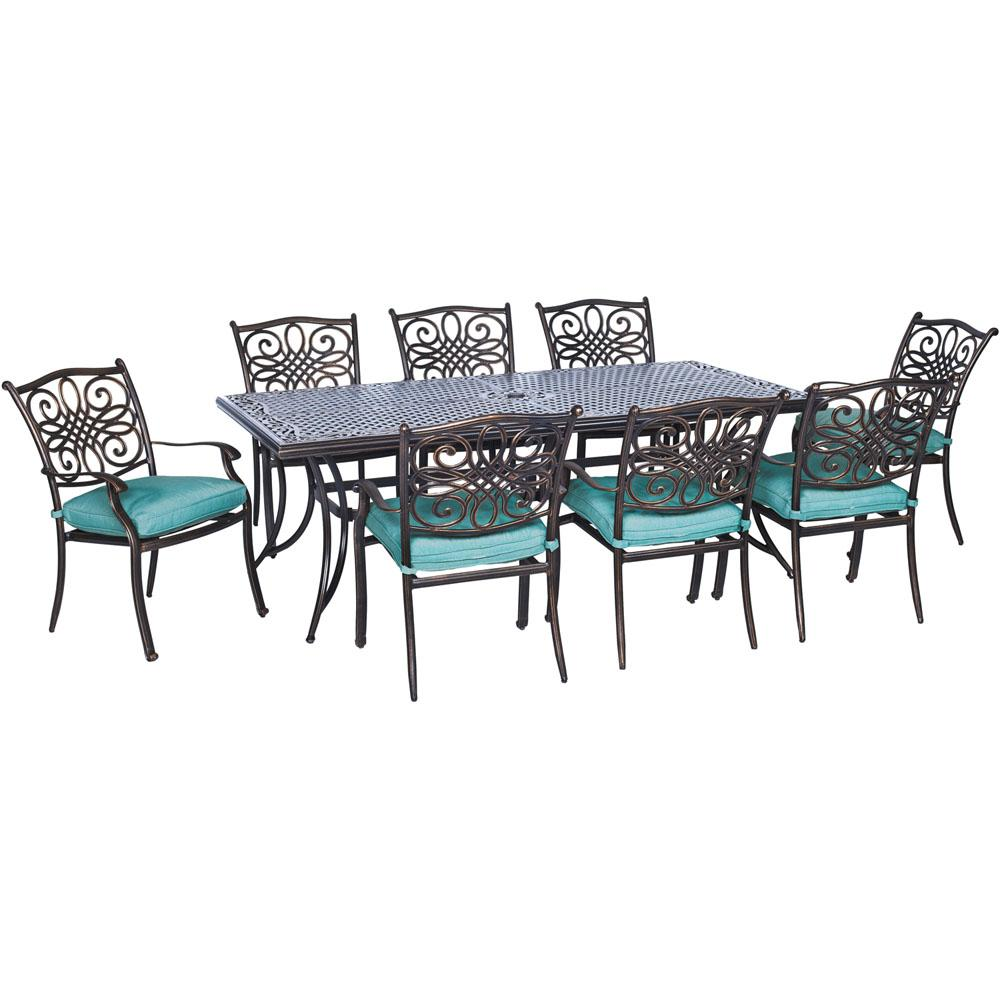 Hanover Traditions 9-Piece Aluminum Outdoor Patio Dining Set with Blue Cushions
