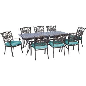Hanover Traditions 9-Piece Outdoor Patio Dining Set with Blue Cushions by Hanover