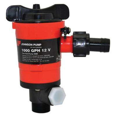 1000 GPH Aerator/Livewell Pump, Twin Outlet Ports