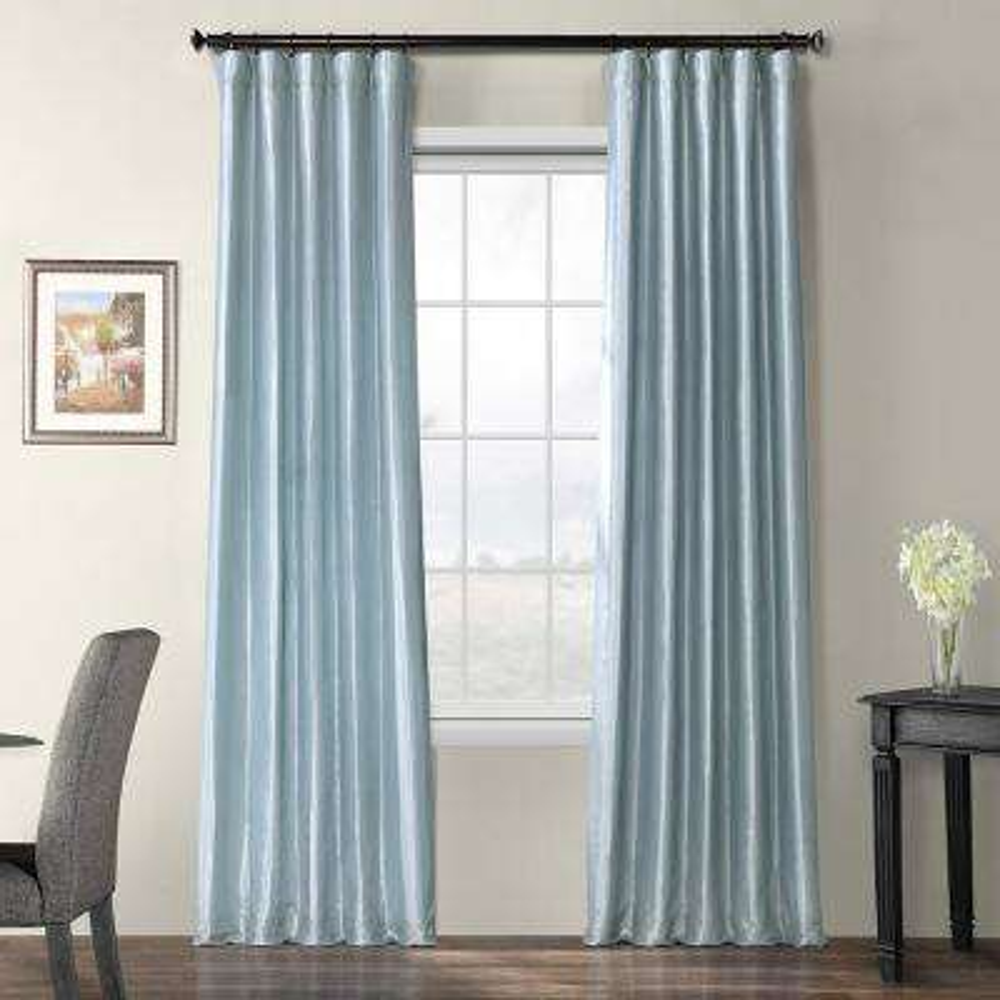 Winter Ice Blue Blackout Faux Silk Taffeta Curtain - 50 in. W x 120 in. L