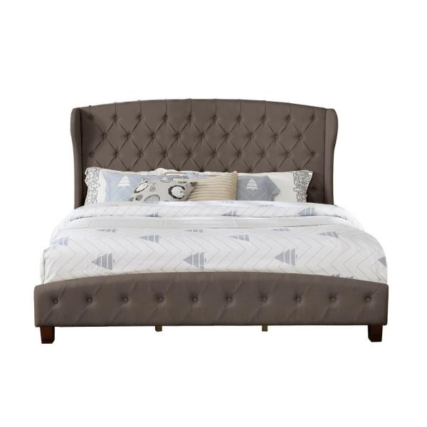 Brown Queen Size Upholstered Shelter Bed