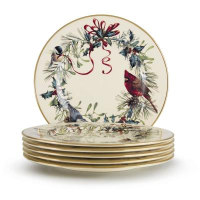 Winter Greetings 6-Piece Bone China Salad Plates