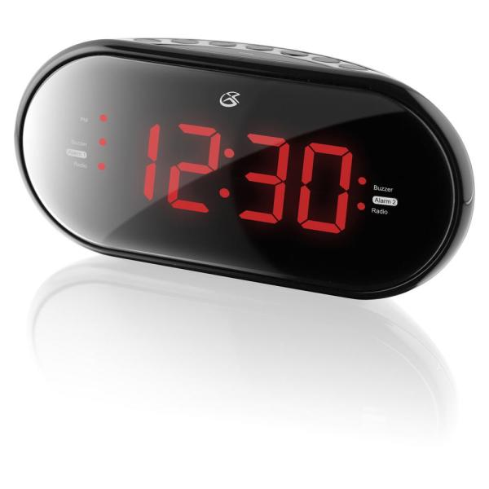 Dual Alarm Clock Radio with Large LED Display, Black