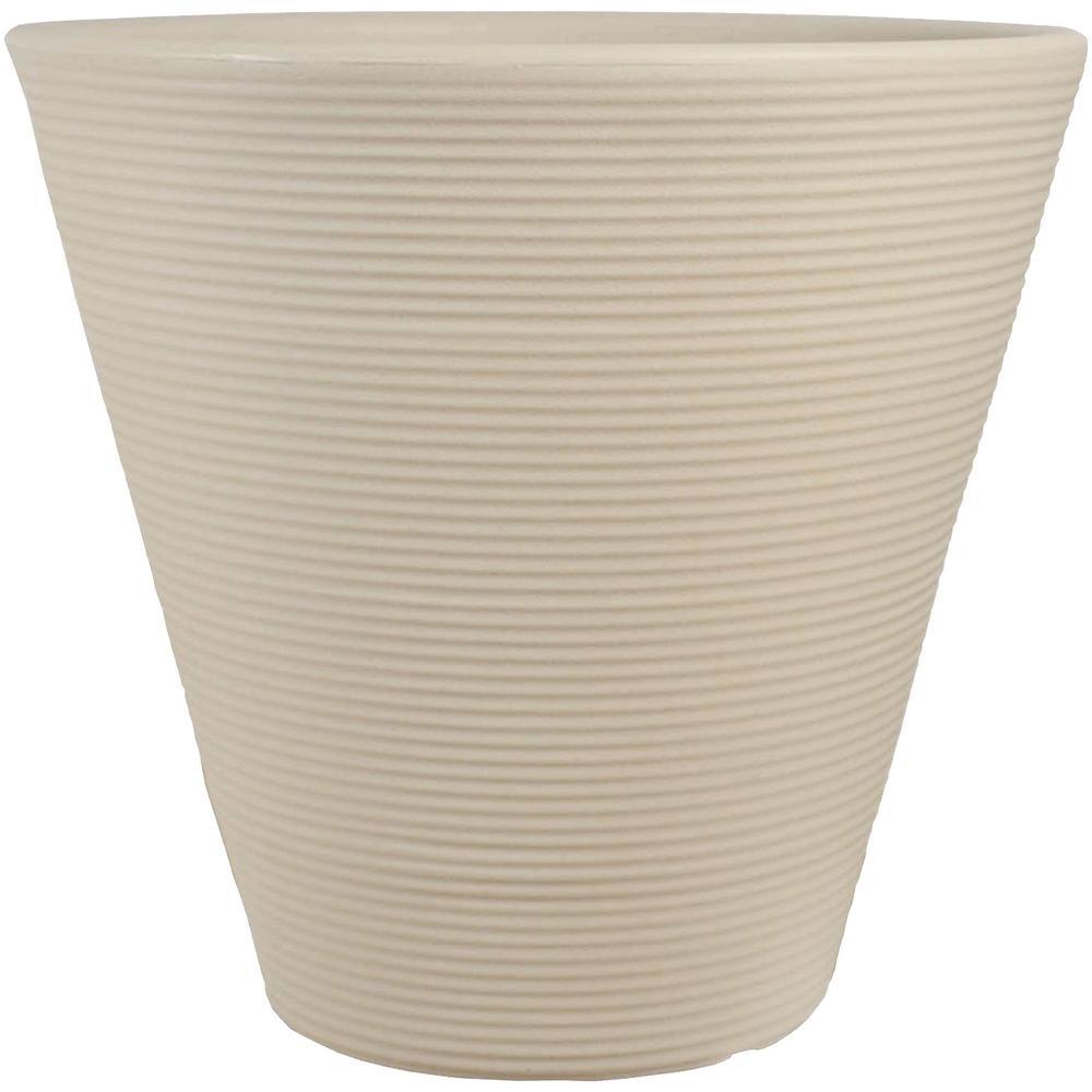 16 in. Beige Walter Poly Flower Pot Planter Single