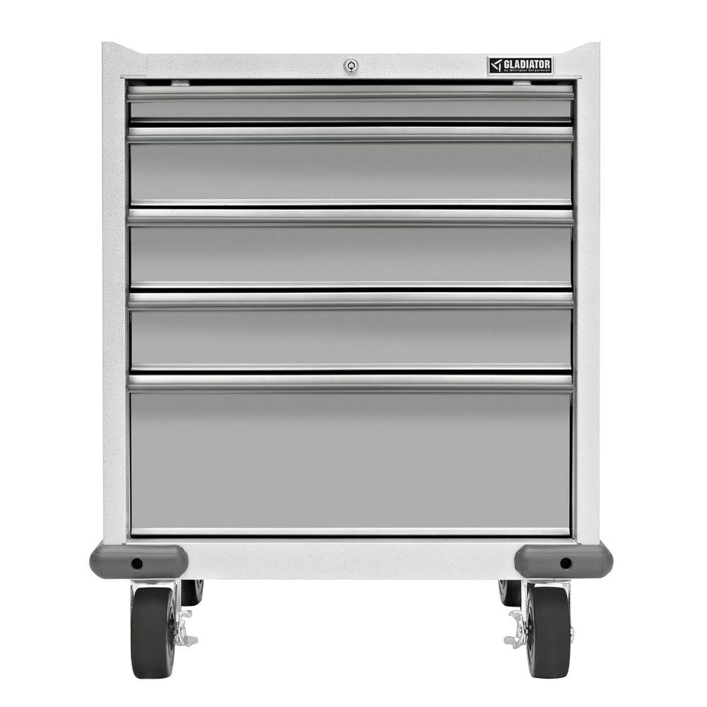 Gladiator Premier Series Pre-Assembled 35 in. H x 28 in. W x 25 in. D Steel 5-Drawer Rolling Garage Cabinet in Everest White