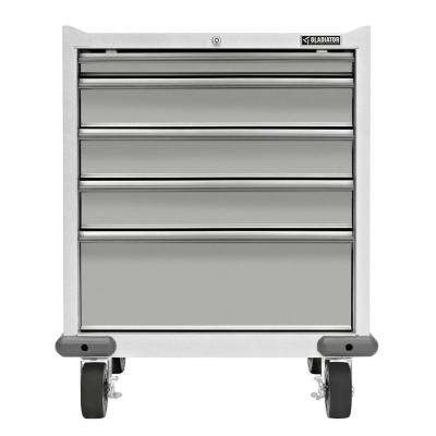 Premier Series Pre-Assembled 35 in. H x 28 in. W x 25 in. D Steel 5-Drawer Rolling Garage Cabinet in Hammered White