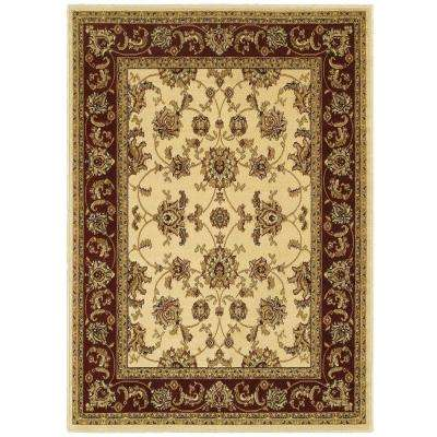Grace Ivory/Red 7 ft. 9 in. x 9 ft. 5 in. Plush Indoor Area Rug