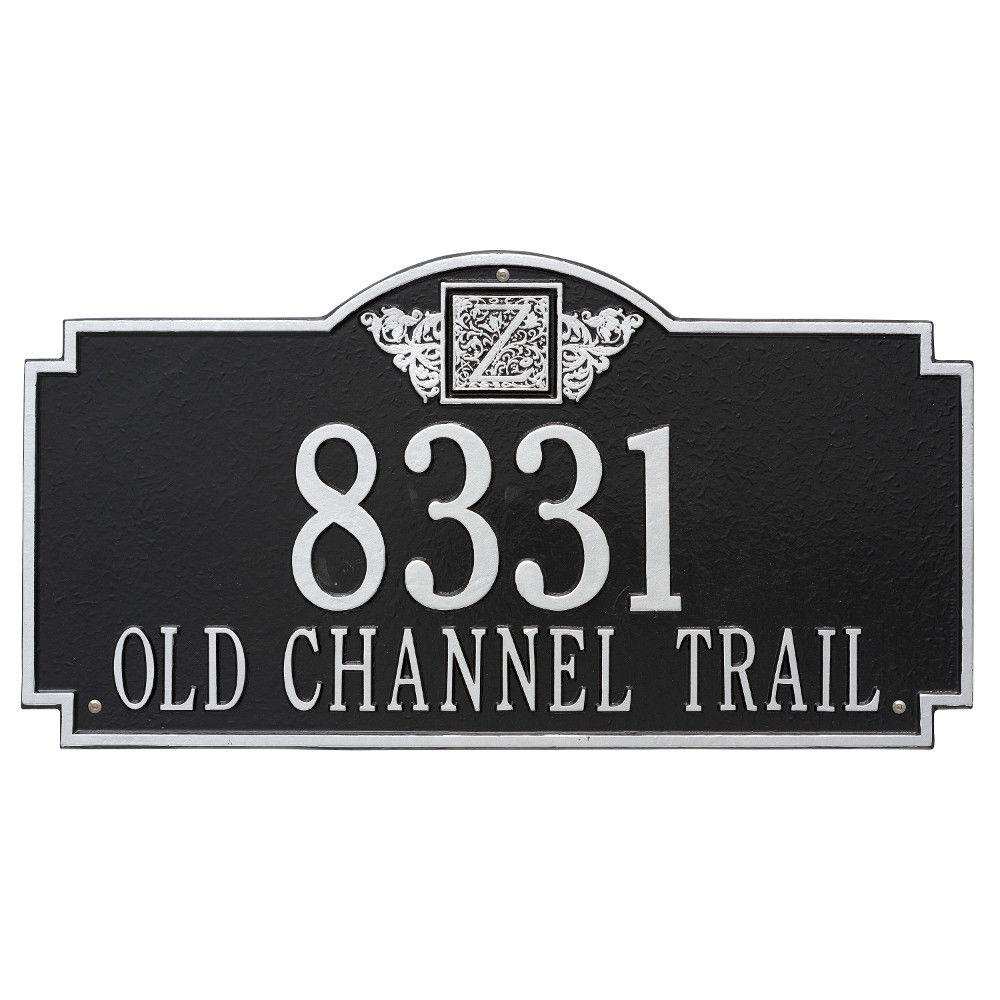 Whitehall Products Monogram Estate Rectangular Black/Silver Wall 2-Line Address Plaque