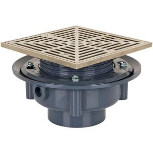 Sioux Chief 3 inch Plastic Sch. 40 Flashing Drain with Square Nickel-Bronze Strainer by Sioux Chief