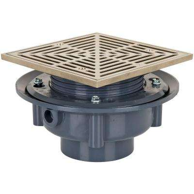 3 in. Plastic Sch. 40 Flashing Drain with Square Nickel-Bronze Strainer