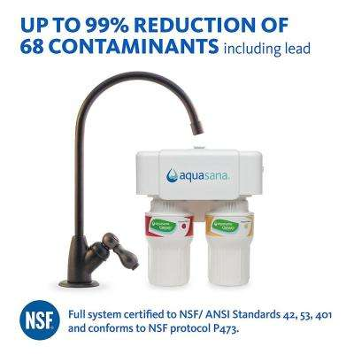 2-Stage Under Counter Water Filtration System with Oil Rubbed Bronze Faucet
