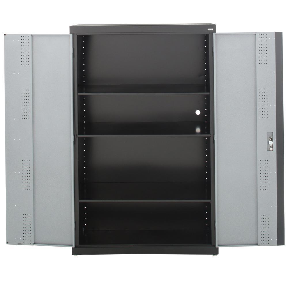 Sandusky 72 In H X 46 In W X 24 In D Steel Modular Freestanding Jumbo Garage Cabinet In Black Multi Granite Gf3f462472 M9 The Home Depot