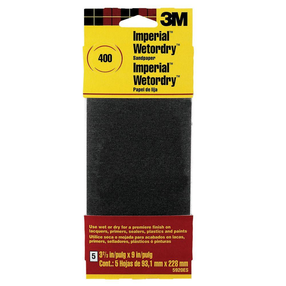 3M Imperial Wetordry 3-2/3 in. x 9 in. 400 Grit Silicon-Carbide Sandpaper (10 Sheets-Pack)