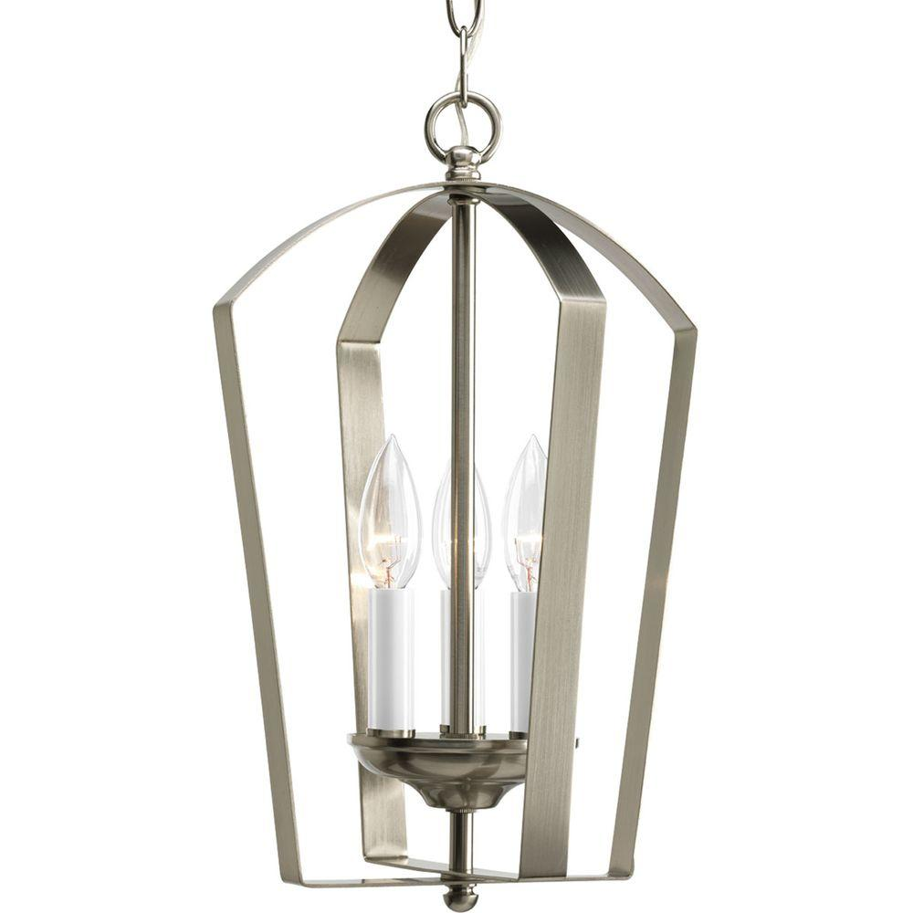 Progress Lighting Gather 3-Light Brushed Nickel Foyer Pendant  sc 1 st  Home Depot & Progress Lighting Gather 3-Light Brushed Nickel Foyer Pendant-P3928 ...