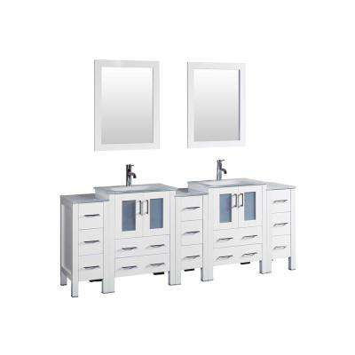 84 in. Double Vanity in White with Tempered Glass Vanity Top in White with White Basin and Mirror