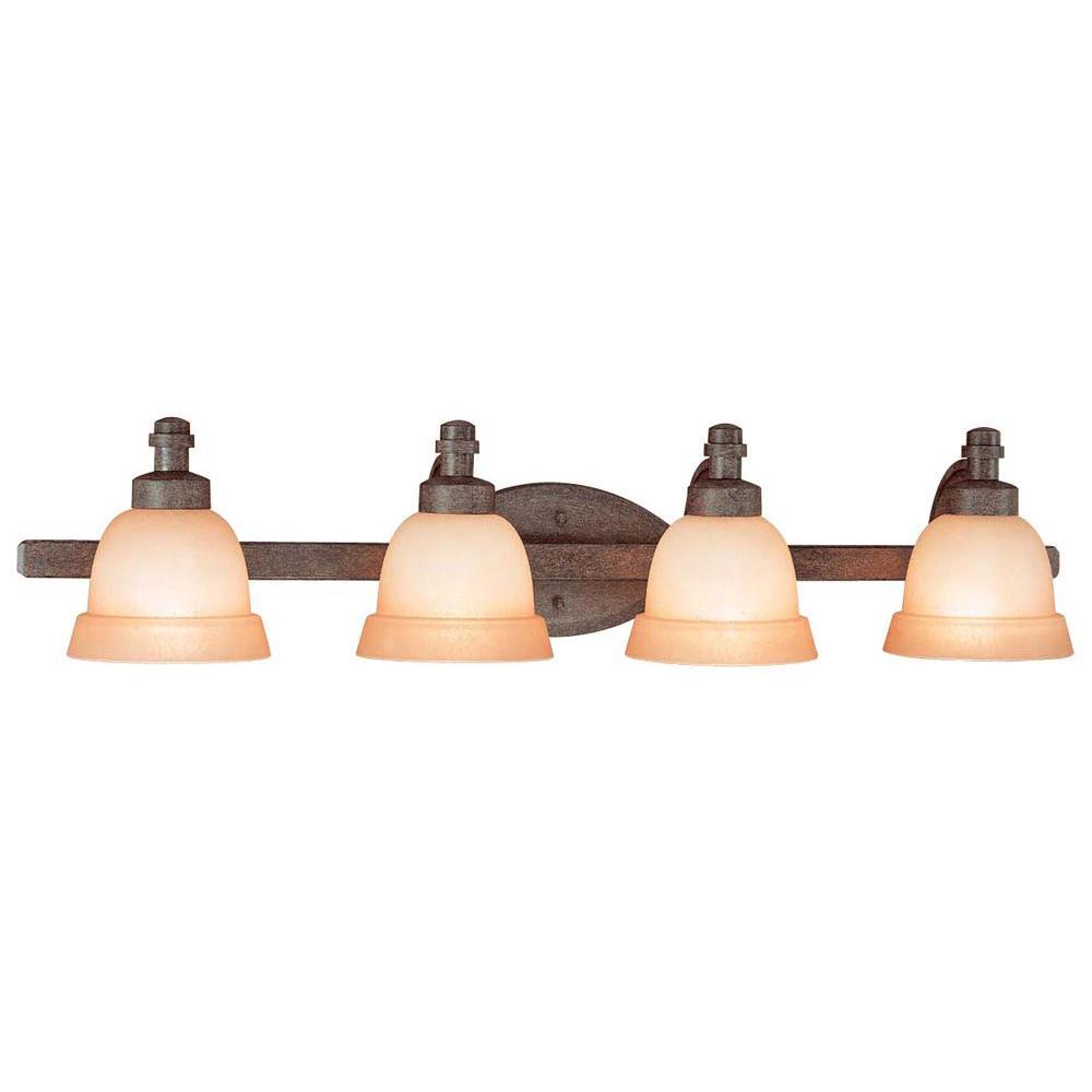 Hampton Bay Rock Creek 4-Light Iron Oxide Bath Light