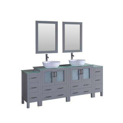 84 in. Double Vanity in Gray with Tempered Glass Vanity Top in Green with White Basin and Mirror