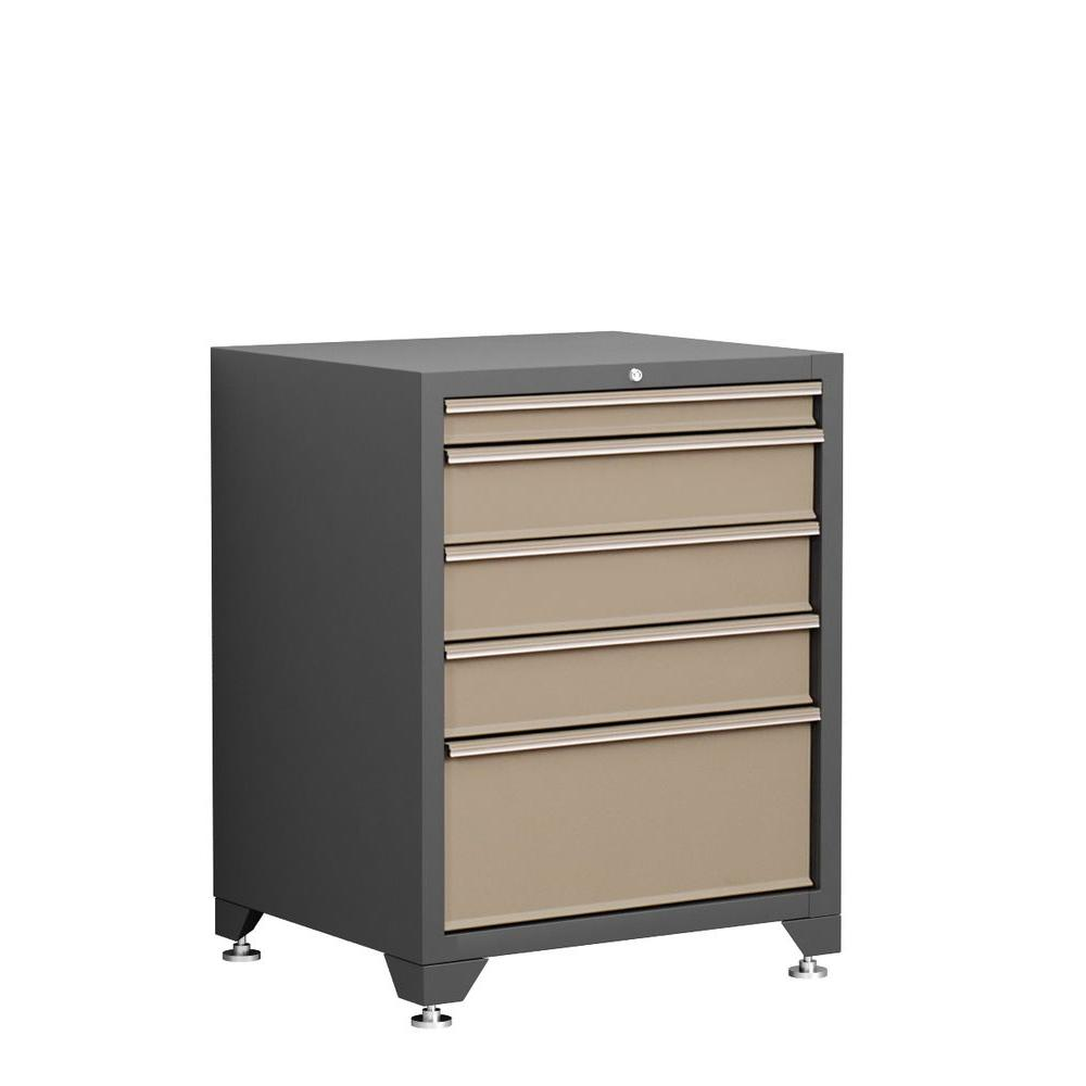 NewAge Products Pro Series 35 in. H x 28 in. W x 24 in. D 5-Drawer 18-Gauge Welded Steel Tool Chest in Taupe