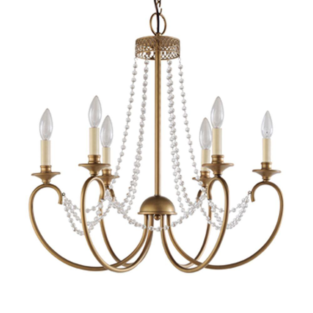 Hampton bay estelle 6 light gold hanging chandelier hd13811l6chpc hampton bay estelle 6 light gold hanging chandelier mozeypictures Gallery