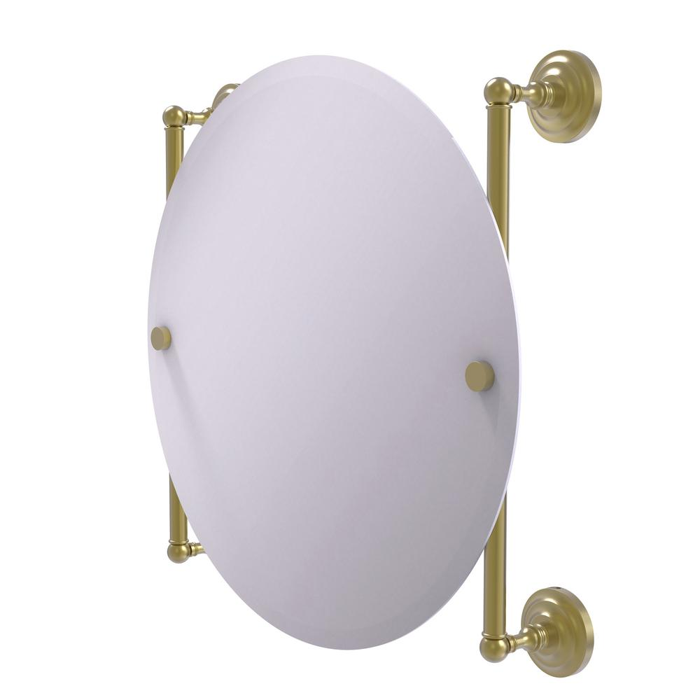 Allied Brass Que New Collection Round Frameless Rail Mounted Mirror in Satin Brass