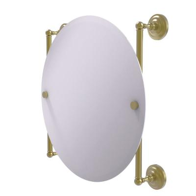 Que New Collection Round Frameless Rail Mounted Mirror in Satin Brass
