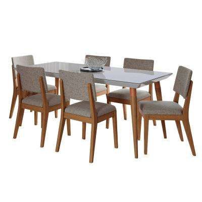 Utopia 70.86 in. and Dover 7-Piece Off-White and Grey Dining Set