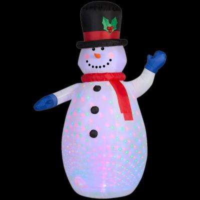 52.36 in. W x 35.83 in. D x 77.95 in. H Projection Inflatable Snowman (RGB)
