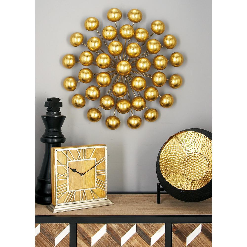 Modern Iron Gold-Finished Ball Burst Wall Decor by