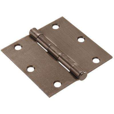 3-1/2 in. Pewter Residential Door Hinge with Square Corner Removable Pin Full Mortise (9-Pack)